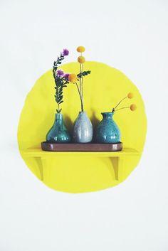 Paint a circle on the wall behind a matching shelf   Justina Blakeney