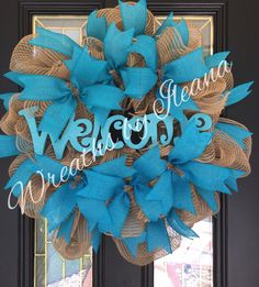 Teal Deco mesh wreath #tealdecomeshwreath Burlap and teal wreathhttps://www.facebook.com/pages/Wreaths-by-Ileana/690079201043178