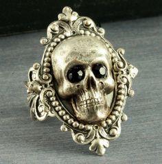 Silver Skull Ring Halloween Ring Gothic Ring Neo Victorian Skull Ring Goth Black Crystal Skeleton Filigree Adjustable Halloween. $29.00, via Etsy.