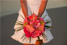 Beautiful Bouquet. Watermelon Anthuriums, Hot Pink Roses, Soft Pink Gerbera Daisies, and Tropical Greenery Wedding Bouquet