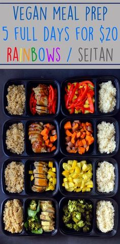 Cheap Vegan Meal Prep 5 Full Days Rainbow Seitan Budget Healthy Rich B Vegetarian Meal Prep, Vegan Meal Plans, Healthy Meal Prep, Vegetarian Recipes, Healthy Recipes, Healthy Food, Meal Prep For Vegetarians, Vegetarian Italian, Healthy Protein