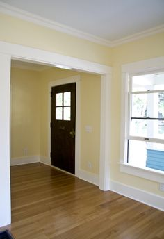 LOVE this yellow tone: weston flax by Benjamin Moore. This would make bedrooms 2 & 3 bright and airy feeling!