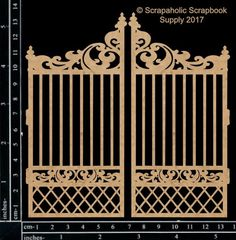 Garden Gate pieces -cut from chipboard -sizes as shown in photo Wrought Iron Gate Designs, Wrought Iron Gates, Scrapbooking, Scrapbook Supplies, Gingerbread House Patterns, Tor Design, Metal Crafts, Cardboard Crafts, Ceiling Tiles