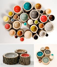 very cool/ log bowls - I just wish that the inside colors were different