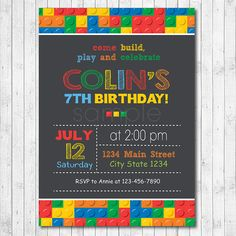 Lego birthday invitation Lego invite Lego party by funkymushrooms Lego Themed Party, Lego Birthday Party, 6th Birthday Parties, Birthday Party Decorations, 7th Birthday, Birthday Ideas, Happy Birthday Invitation Card, Lego Invitations, Printable Birthday Invitations