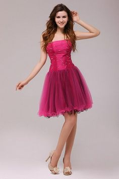 Tulle A-Line Strapless Homecoming Dresses sfp2563 - http://www.shopforparty.com/tulle-a-line-strapless-homecoming-dresses-sfp2563.html - COLOR: Pink; SILHOUETTE: A-Line; NECKLINE: Strapless; EMBELLISHMENTS: Beading; FABRIC: Tulle - 195USD