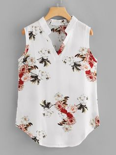 Tank Top For Women Benarasi Blouse The Rock Tank Top Plunge Blouse Red Saree With Blue Blouse Red Blouses, Blouses For Women, Summer Blouses, Floral Tops, Floral Prints, Floral Fabric, Schneider, White Style, White Casual