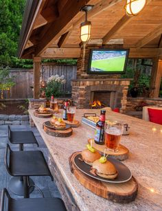 Have Many Trouble in Indoor Kitchen? Install The Outdoor One! Find other ideas: DIY Outdoor Kitchen And Pool Layout Outdoor Kitchen and Pergola Ideas Rustic Outdoor Kitchen On A Budget Small Outdoor Kitchen Patio On Deck Outdoor Kitchen Covered Design Outdoor Kitchen Patio, Outdoor Kitchen Countertops, Outdoor Kitchen Design, Outdoor Rooms, Rustic Outdoor Kitchens, Kitchen Counters, Kitchen Rustic, Outdoor Living Patios, Kitchen Cabinets