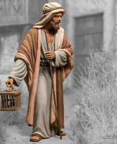 Figuras de Belén de Barro, Pastor con Jaula B2025