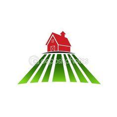 Farm house with field logo  Stock Illustration #74275743
