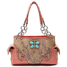 Cowgirl trendy western handbag is made of imitation leather with fabric lining on the inside. Butterfly made of aqua beads rhinestones silvertone hardware and flower and butterfly designs decorate t...
