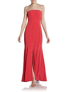 Strapless Slit-Front Gown