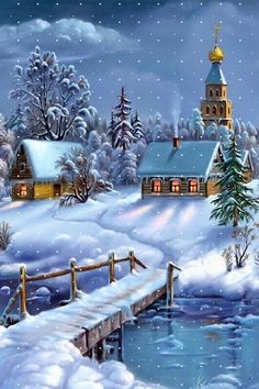 ♥♡♥ carte ancienne de Noël - winter scene                                                                                                                                                      Plus
