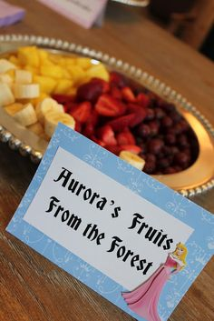 Aurora's fruit from the forest. For parties. Pick any fruit you like, but forest fruit is the best for this. Choose apples, damsons, black cherries, blackberries, a selection of berries, plums, and more