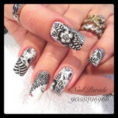 Black and White Nail Art Black And White Nail Art, White Nails, Beauty, Nail Art, Fingernail Designs, White Nail Beds, White Nail, Beauty Illustration