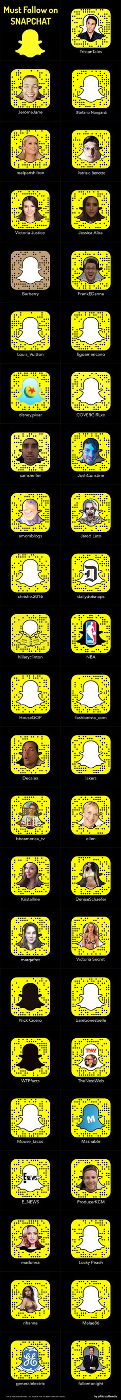 35 Must Follow di #snapchat in un lungo elenco di #snapcode --- http://patriziobenotto.tumblr.com/post/143982567705/must-follow-on-snapchat