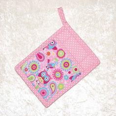 Pocket Pot Holder • Pink Hot Pad • Owl Potholder • Owl Oven Mitt • Pink Paisley • Paisley Potholder • Owl Potholder • Glamping Decor • Pink