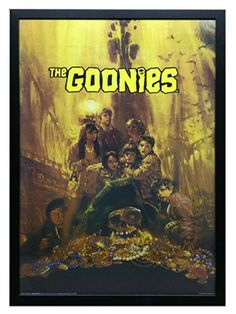 The Goonies Movie Framed Poster Print 24x36 On a Black Frame Made in USA ** Click image for more details.Note:It is affiliate link to Amazon. #PosterPrint