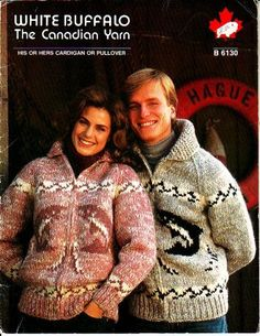 white buffalo 6130, his or hers cardigan, pullover , in sizes 30 to 46 inch chest, comes bound so lays flat while working on the pattern