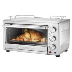 """Toaster oven broiler with a nonstick interior.  Product: Toaster oven broilerConstruction Material: MetalColor: Brushed stainless steelFeatures:  0.8 Cubic foot capacityRed power indicator light and blue ready lightAccomodates a 12"""" pizza Dimensions: 12.99"""" H x 19.6"""" W x 15.8"""" D"""