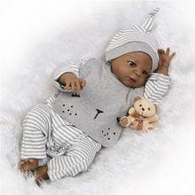 55cm Full Body Silicone Reborn Baby Black reborn babies boy Doll Toys 22inch bebe Bathe Toy bonecas reborn xmas Gift(China)