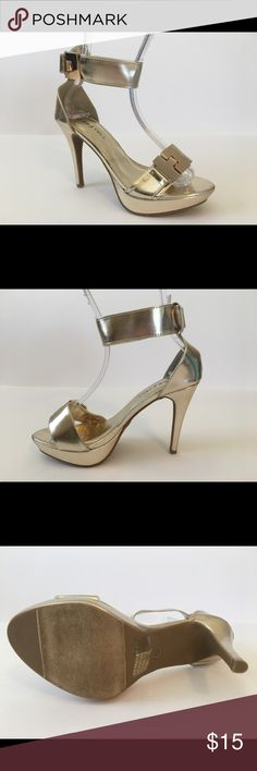 """Kiss & Tell Jealyn-67 Women's Ankle Strap Heels Shoes are new and are sold with original boxes.  There may be small marks from being moved within the store.  All man made materials.  Heel is approx. 4.5"""".  Platform is approx. 1"""".  Gold material with gold buckle.  Ankle strap closure is Velcro. Kiss & Tell Shoes Heels"""