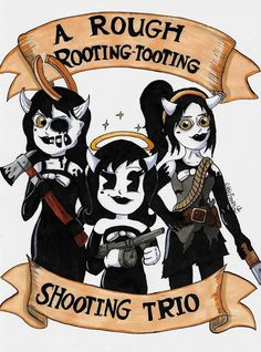 This is the product of a two obsessions that have collided. Fallout and Bendy And The Ink Machine. :') Pistol Packin' Mama(s) Alison Angel, Alice, Just Ink, Little Games, Bandy, Bendy And The Ink Machine, Toot, Fnaf, Video Games