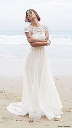 Anna Campbell Bohemian Wedding Dresses Vestido De Noiva Delicate Chiffon Boho Bridal Gowns Applique A Line Beach Wedding Gowns Wedding Attire, Boho Wedding, Wedding Gowns, Dream Wedding, 2017 Wedding, Illusion Wedding Dresses, Illusion Neckline Wedding Dress, Wedding Simple, Seaside Wedding
