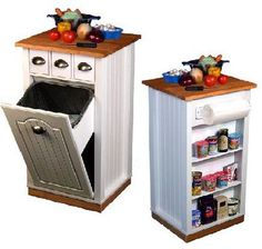 Venture Horizon Butcher's Block Island with Trash Bin and Pantry 4124-11WH   Just needs wheels