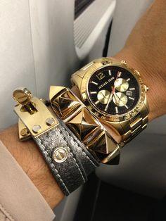 Arm party...Michael Kors watch, C. Wonder pyramid stud cuff, and wrap around bracelet.