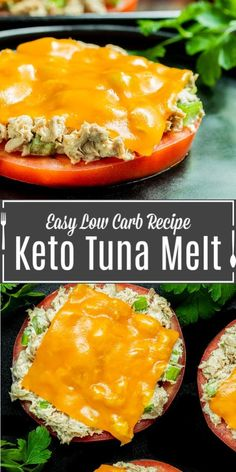 Keto Tuna Melt is an easy keto lunch recipe made with fresh tomato, tuna salad, and melted cheese. It's the perfect addition to your keto meal plan.