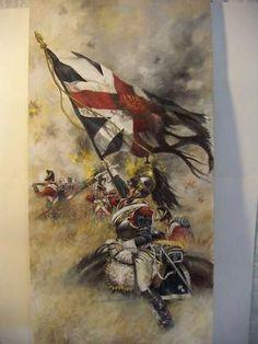 Drapeau anglais pris à la bataille des Quatre-bras par un cuirassier français. British flag taken at Quatre-bras battle 1815 by french cuirassier.