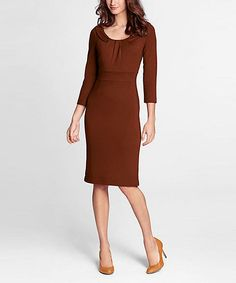 Take a look at this Bittersweet Three-Quarter Sleeve Ponte Dress - Petite on zulily today!