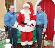 """Santa Claus visiting with Officer Joe Pagano and Officer Jason Scalzi during Coffee with a Cop at Boscov's (Cumberland Mall)  VPD Community Policing, """"Building Relationships One At a Time)"""