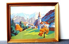 Vintage Art Framed Painting Church Valley by vintageeclecticity