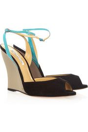 Oscar de la Renta Suede and patent-leather wedge sandals