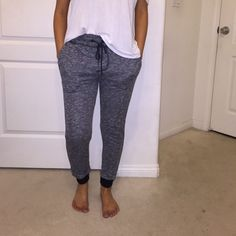 Heather gray joggers! worn once around the house! perfect condition Foreign Exchange Pants Track Pants & Joggers