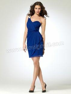 Blue Dress with Rhinestone Shoulder