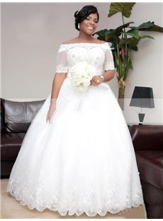 Half Sleeves Hall Spring Winter Off-the-Shoulder Lace-up Elegant & Luxurious All Sizes Wedding Dress