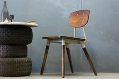 USA, French Influenced Vintage Industrial Wood and Steel School Chairs. *(Seat H: 17 in.