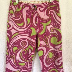 Loudmouth Golf Men\'s Slacks Pink Lime Green Swirl Design Fun #LoudmouthGolf #CasualPants