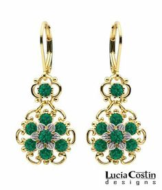 Lever Back Multi Flower Dangle Earrings by Lucia Costin Made of 24K Yellow Gold Plated over .925 Sterling Silver with Green Swarovski Crystals, Etched with Twisted Lines and Dots Lucia Costin. $56.00. Wonderfully designed with emerald - green Swarovski crystals. Unique jewelry handmade in USA. Floral earrings amazingly designed by Lucia Costin. A perfect addition to your jewelry box. Update your everyday style with inspiration when wearing this piece of jewelry