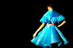 Soprabito stile anni 50' realizzato da Mariana Cino per il Secoli Fashion Show 2014  #marianacino #anni50' #fashion #catwalk #milano #glamour #silk #picks #elegance #blue #mywork #dream