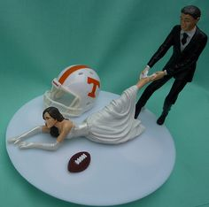 Wedding Cake Topper University of Tennessee Volunteers UT Vols G Football Themed w/ Garter, Display Box