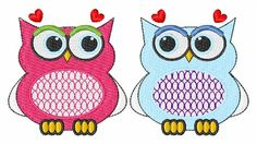 Valentine Owls embroidery design. This site has tons of free embroidery designs.