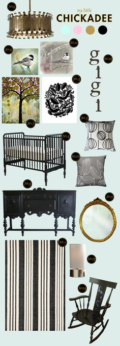 Nursery idea - my little chickadee - like art and black furniture but use current wall color