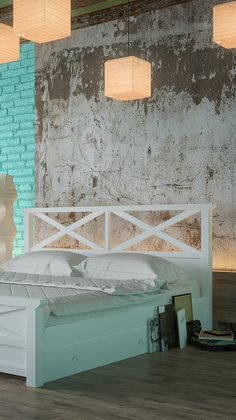 Белая деревянная кровать Вирджиния ТМ Албена в интерьере спальни в стиле лофт.