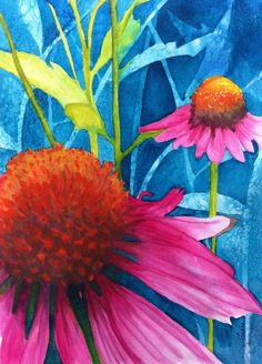 Leana Baskerville's art - The coneflowers from my front yard!