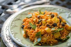 RAW CURRY CARROT SALAD---------◾4 cups grated carrots, (approximately 10 medium carrots, grated),  ◾2 cups snow peas, sliced into 1/2-inch long pieces,   ◾2 cups diced fresh pineapple,  ◾1/2 to 1 cup raisins,  ◾I bunch scallions, sliced thin, ----- CURRY DRESSING---------- ◾1/2 cup cashews,  ◾1/2 cup almond milk,  ◾2 tsp. curry powder,  ◾1/2 tsp. nama shoyu ◾I Tbs. liquid sweetener of choice