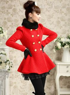 Romantic Long Sleeves Double-breasted Woolen Overcoat